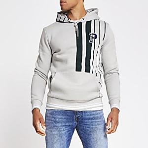 Prolific - Grijze gestreepte slim-fit hoodie