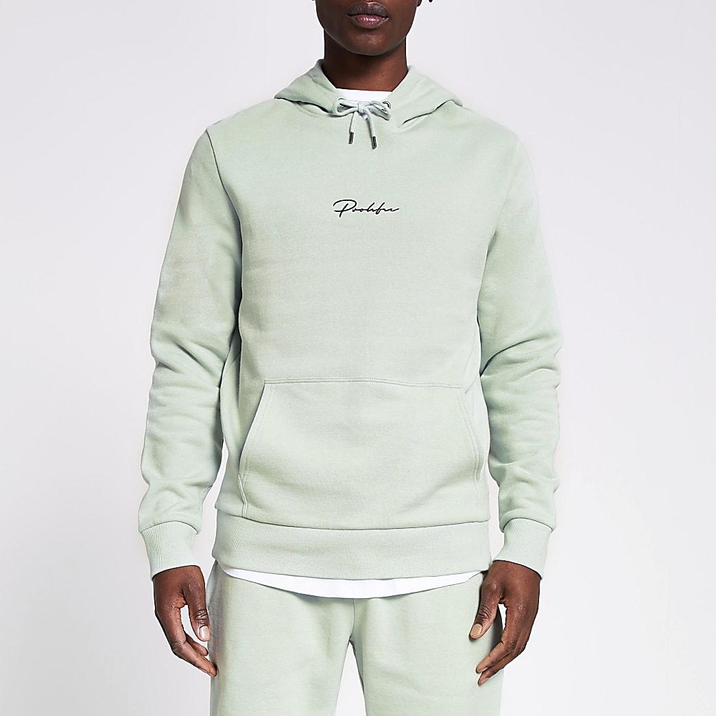 Prolific light green slim fit hoodie