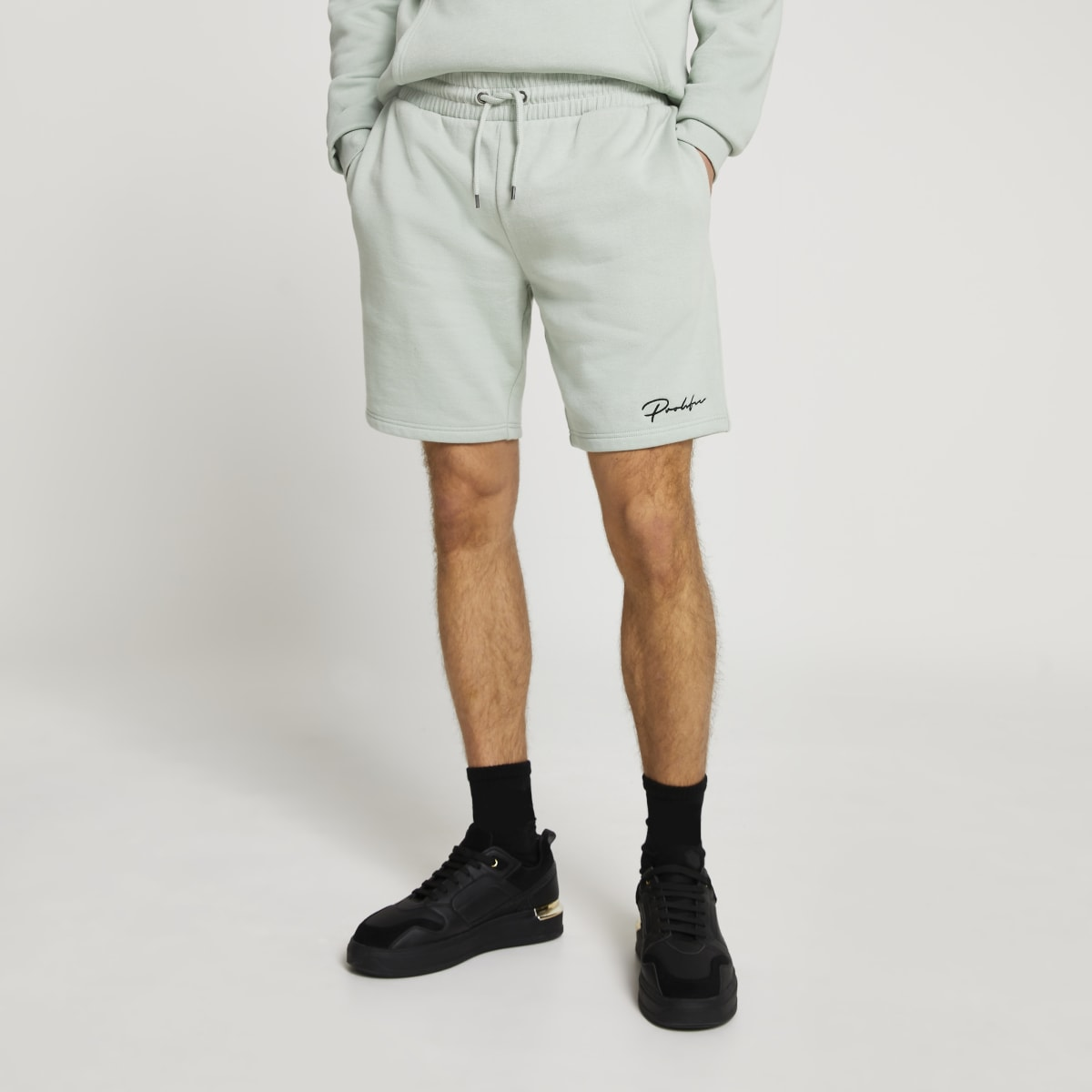Prolific light green slim fit shorts