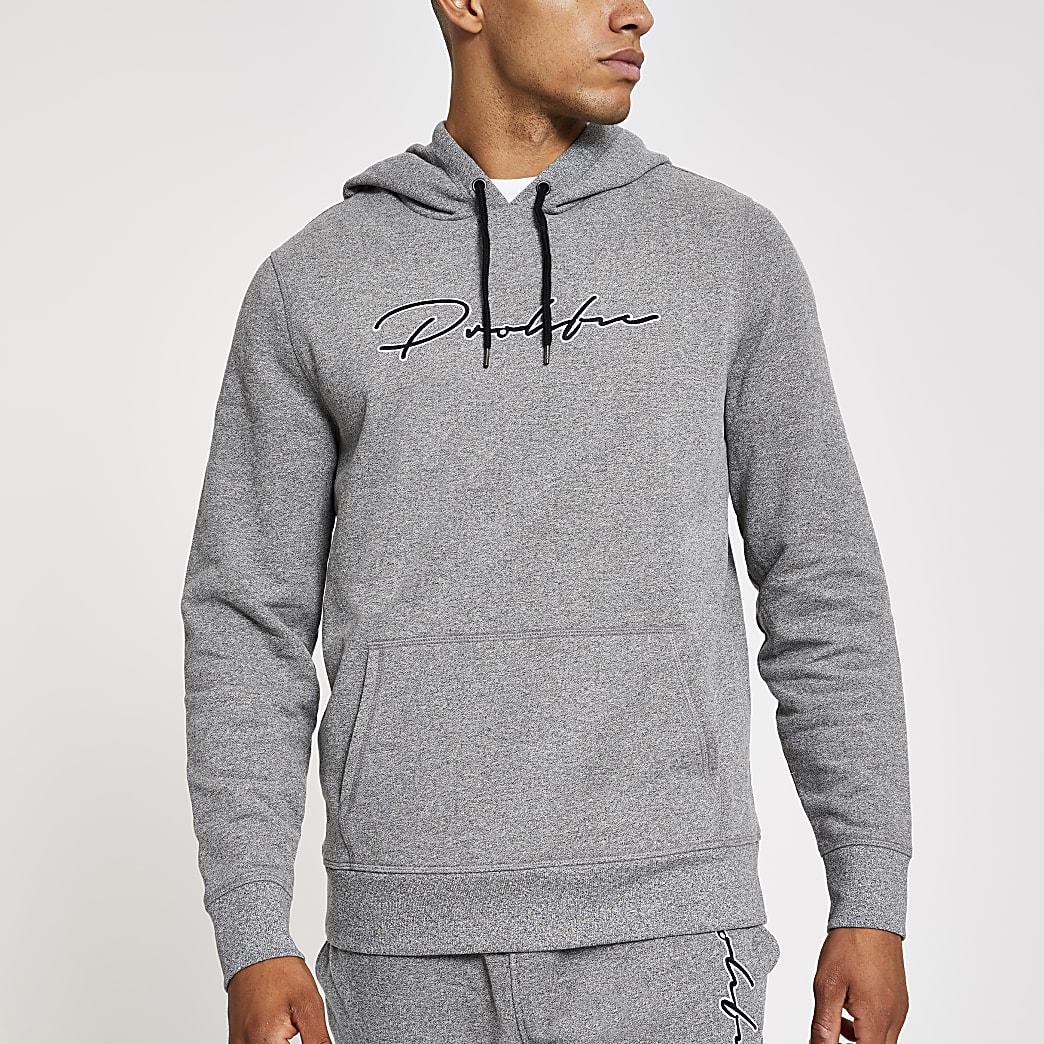 Prolific light grey slim fit hoodie