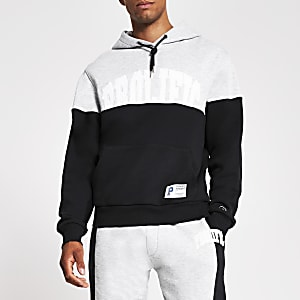 Prolific navy colour block regular hoodie