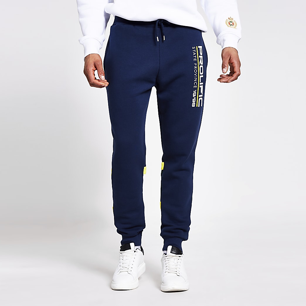 Prolific navy colour blocked joggers