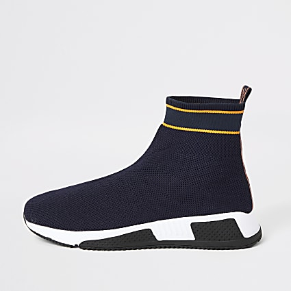 Prolific navy knitted high top sock trainers