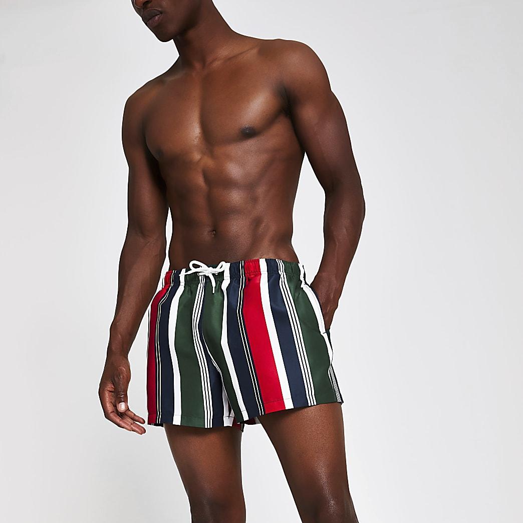 Prolific navy stripe skinny fit swim shorts