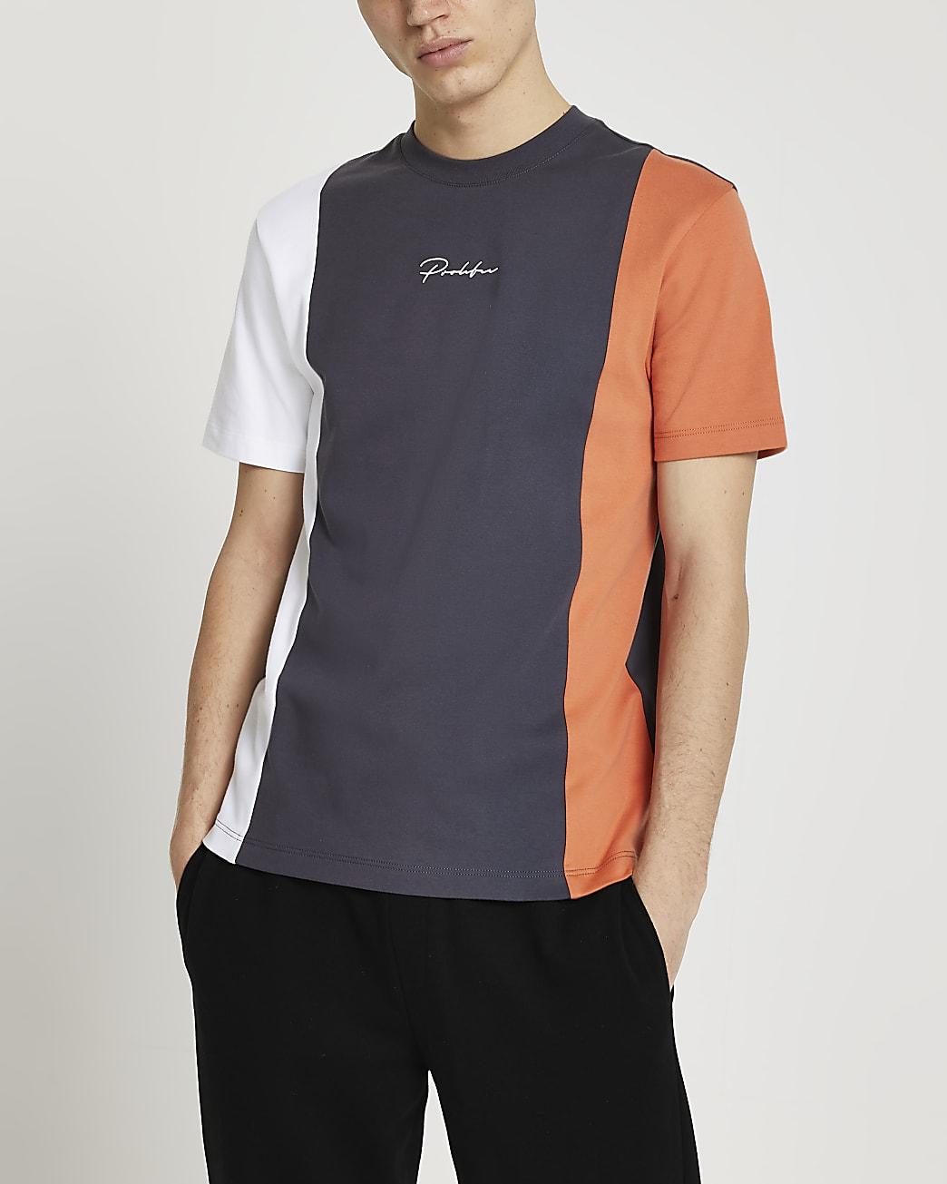 Prolific orange colour block t-shirt