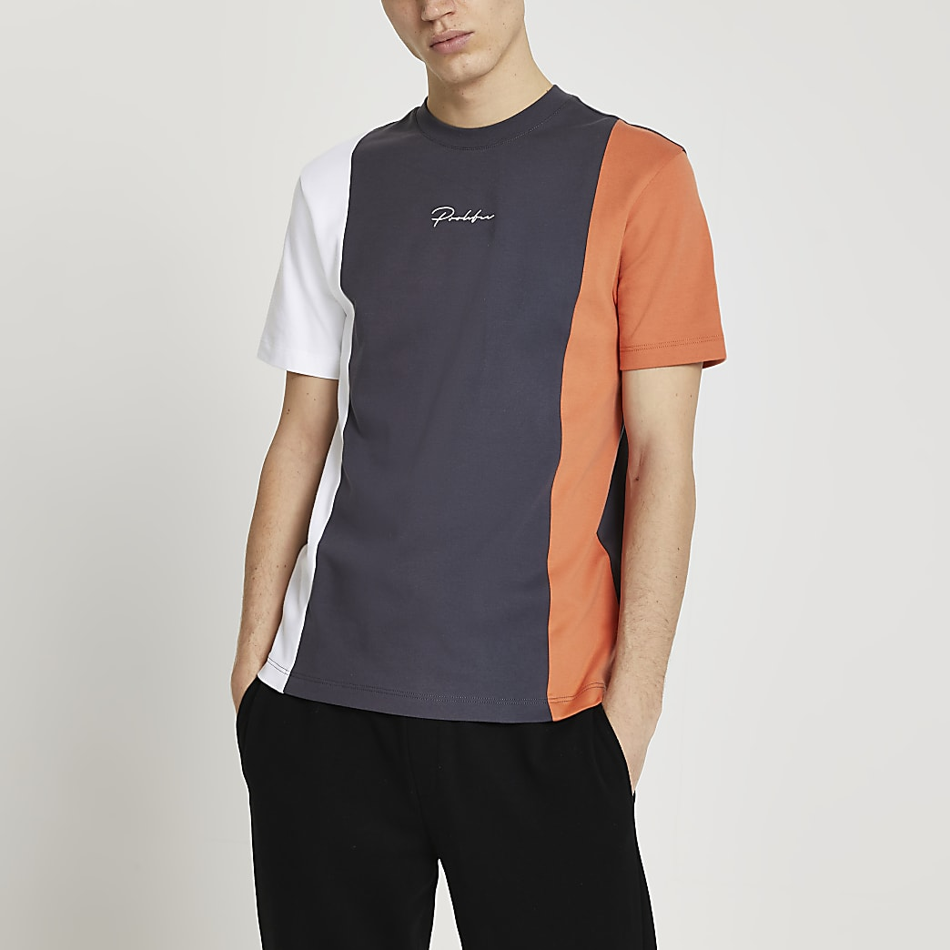 Prolific orange colour block t-shirt