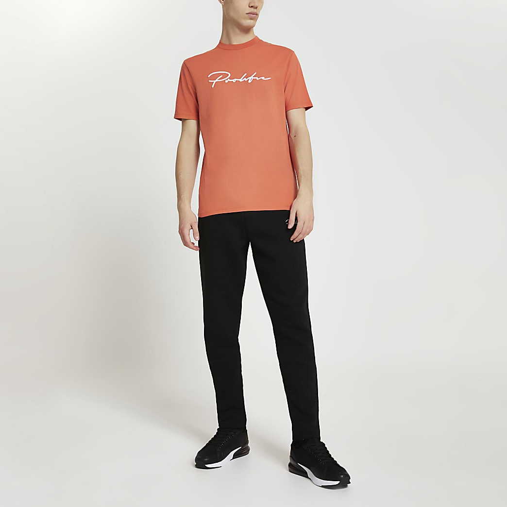 Prolific orange slim fit embroidered t-shirt