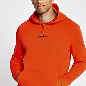 Prolific orange slim fit hoodie