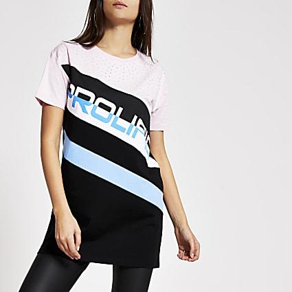 Prolific pink blocked diamante T-shirt