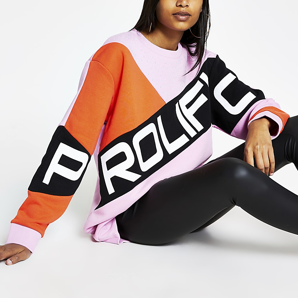 Prolific pink blocked embellished sweatshirt
