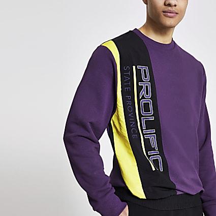 Prolific purple nylon blocked sweatshirt
