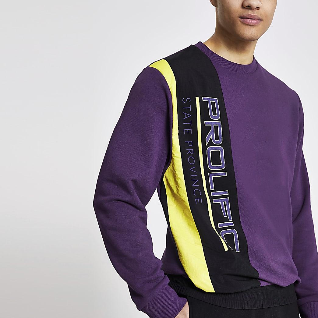 Prolific - Paarse nylon sweater met kleurvlakken