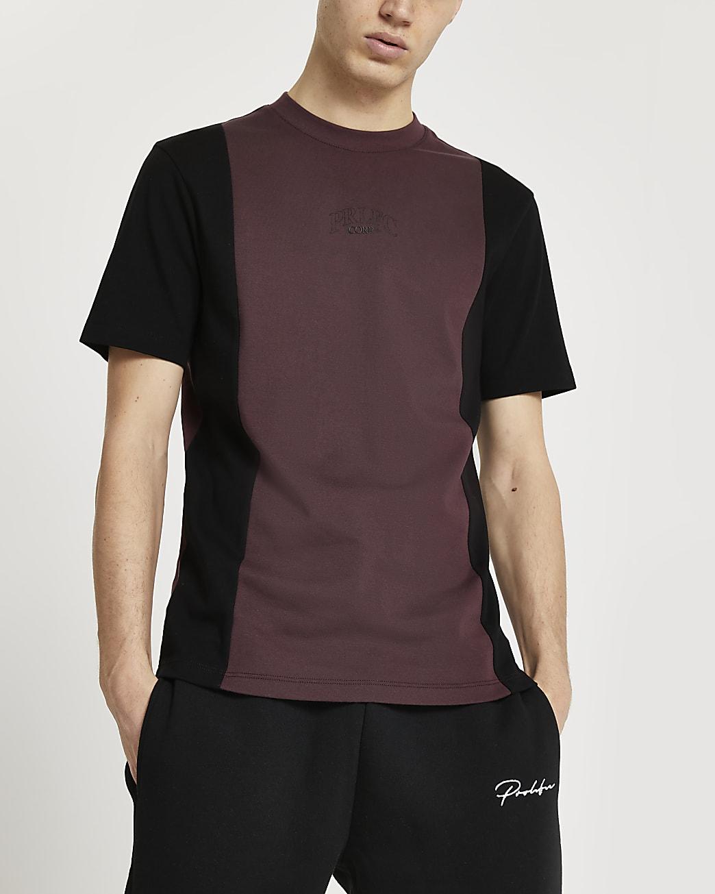 Prolific red colour block t-shirt