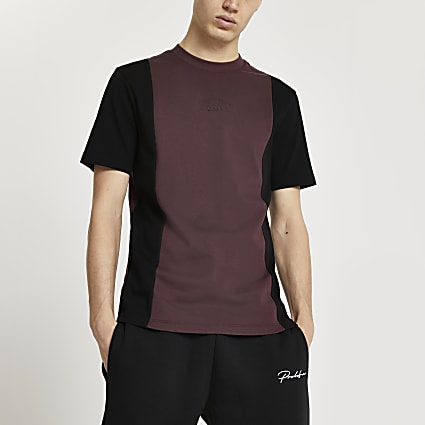 Prolific red colour block t-shirt