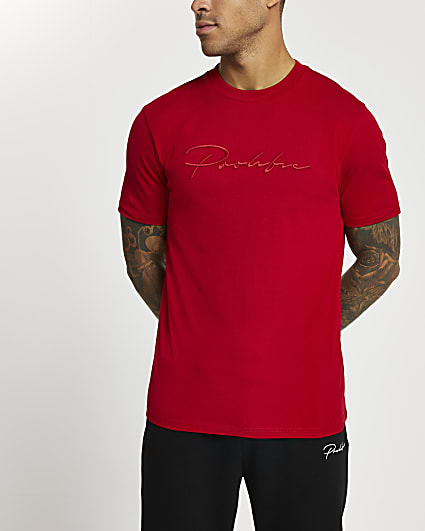 Prolific red slim fit embroidered t-shirt