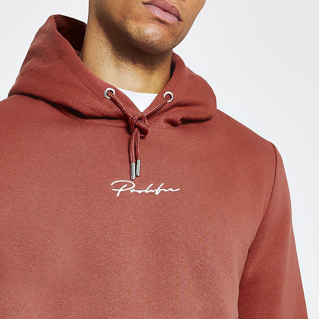 Prolific red slim fit hoodie
