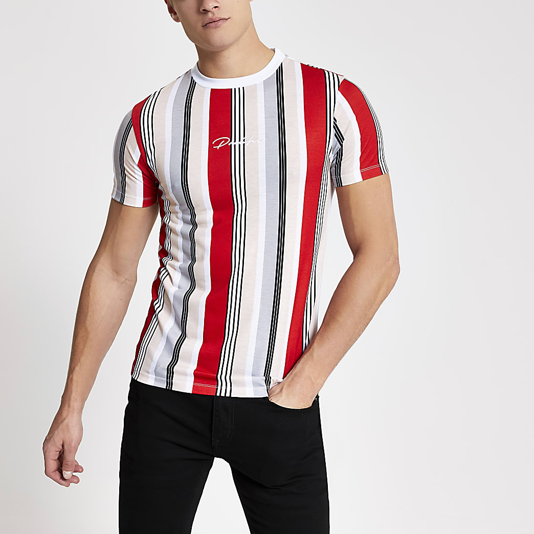Prolific - Rood gestreept muscle-fit T-shirt
