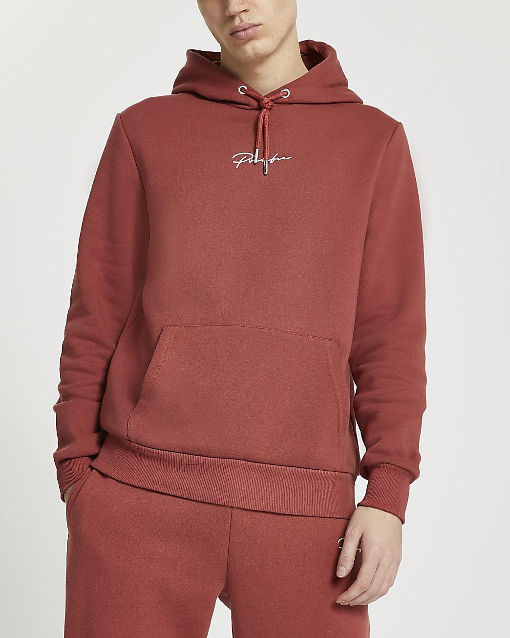 Prolific rust slim fit hoodie