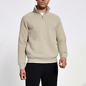 Prolific - Kiezelkleurige slim-fit sweater met halve ritssluiting