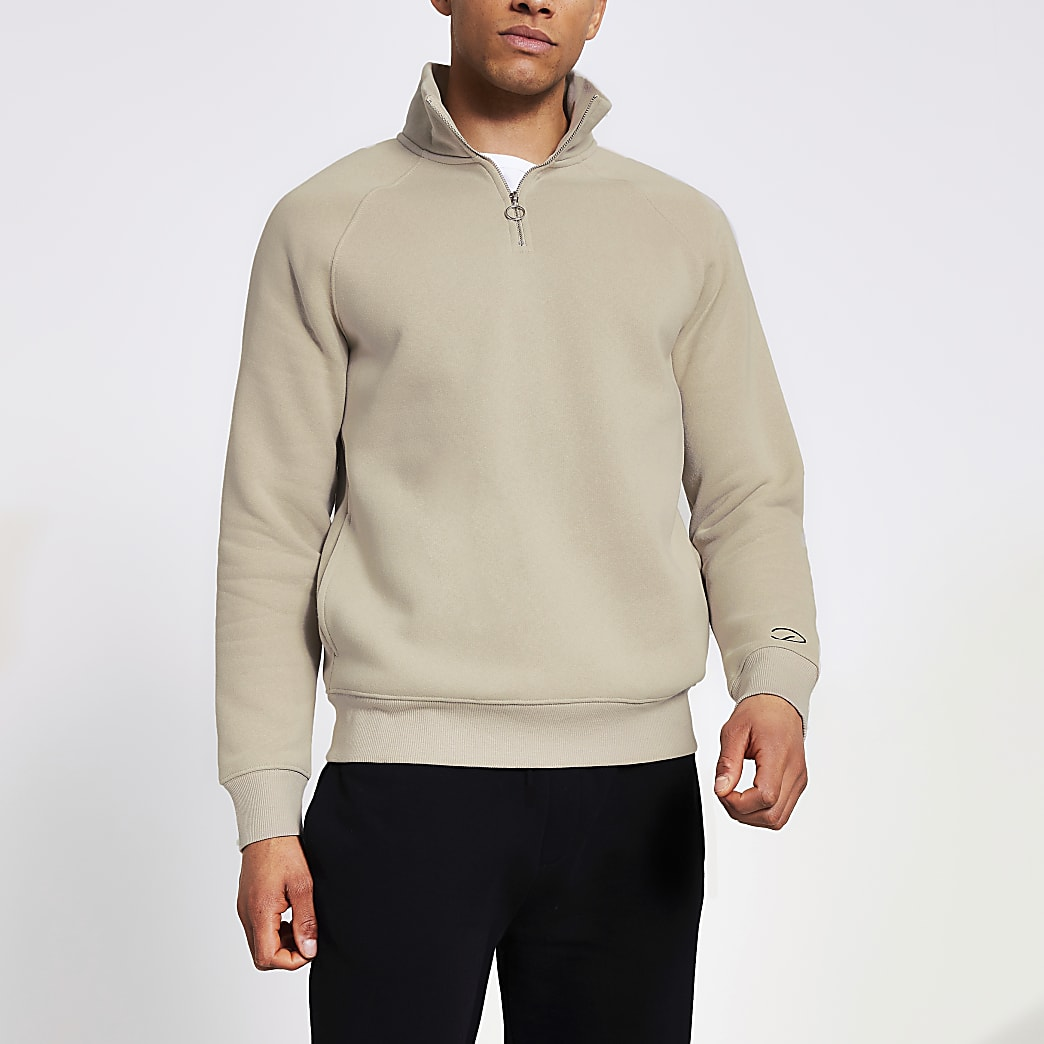 Prolific stone half zip slim sweatshirt
