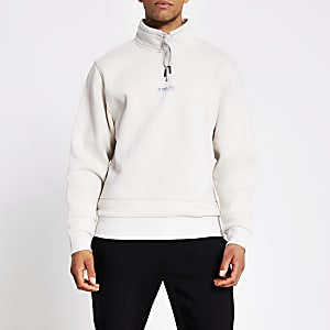 Prolific - Kiezelkleurige sweater met halve ritssluiting