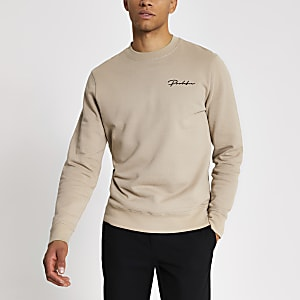 Prolific - Kiezelkleurige slim-fit sweater