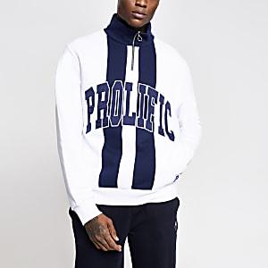 Prolific - Witte sweater met kleurvlak en halve ritssluiting