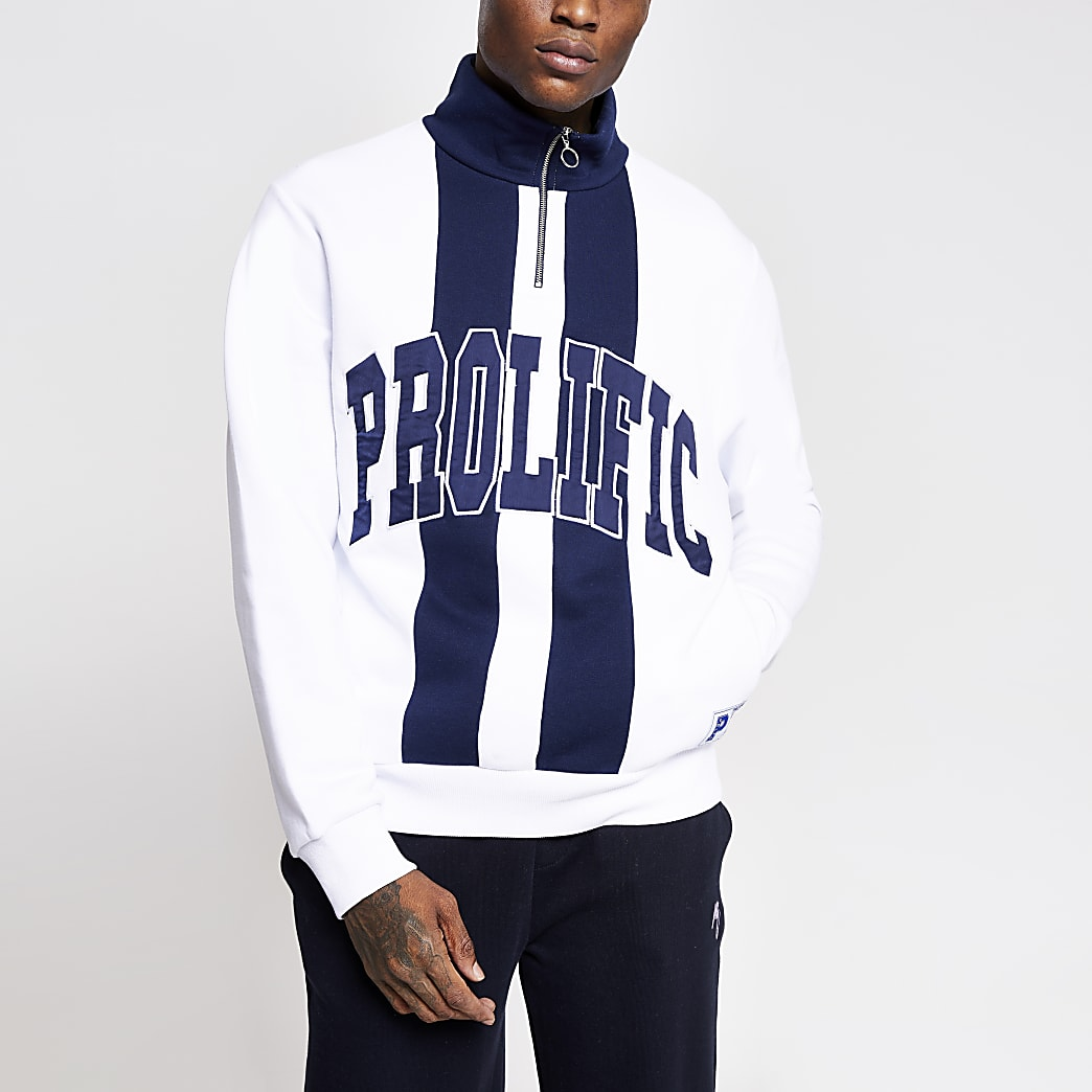 Prolific white block half zip sweatshirt