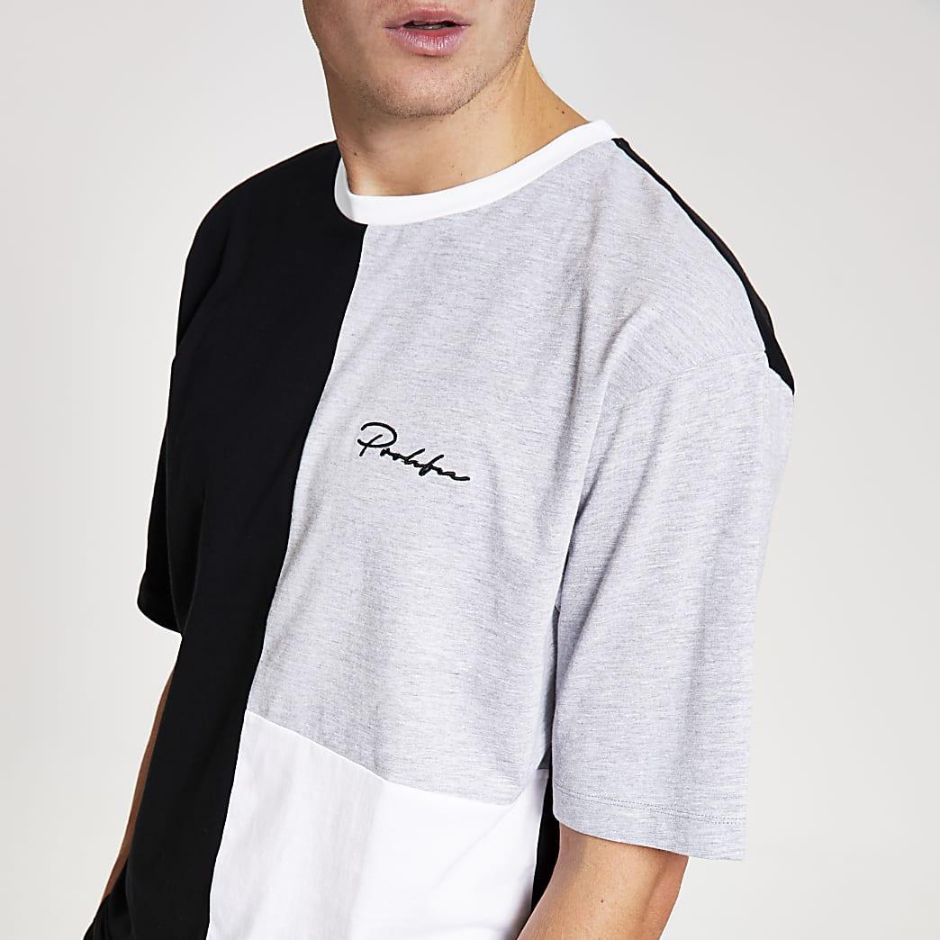 Prolific white colour block oversized T-shirt