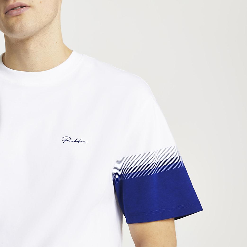 Prolific white colour block t-shirt