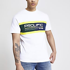 Prolific white colour blocked T-shirt