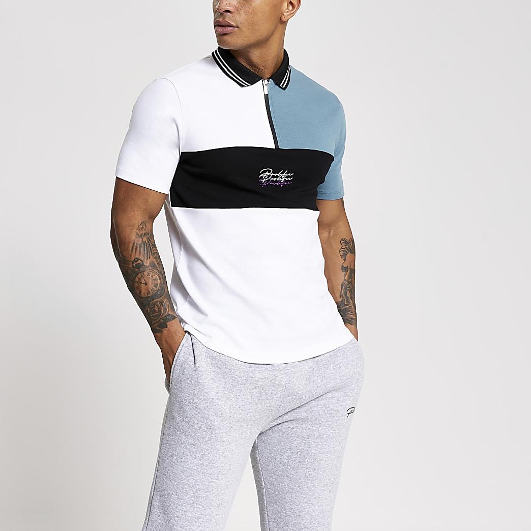 Prolific white colour blocked zip polo shirt
