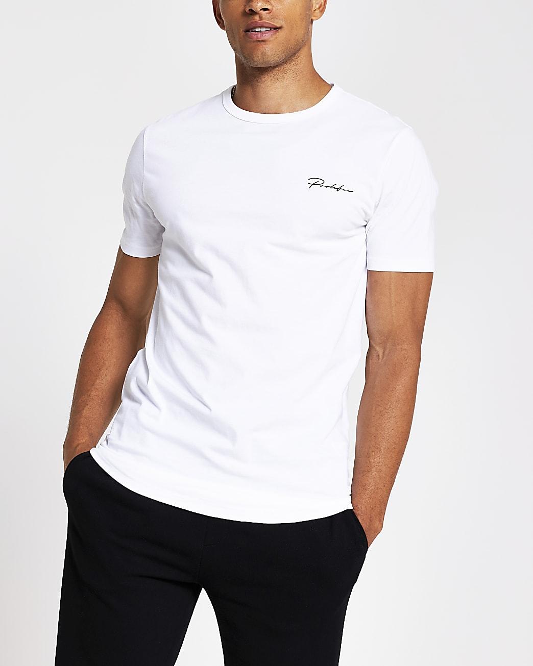 Prolific white curved hem regular fit T-shirt