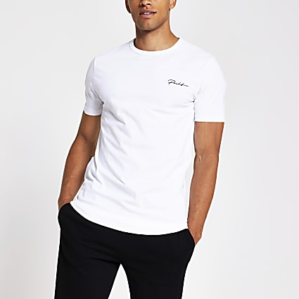 Prolific white curved hem regular fit T-shirt