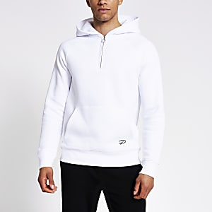 Prolific – Sweat à capuche slim avec col zippé blanc