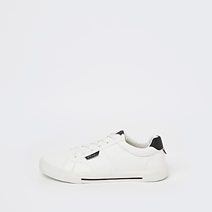 Prolific white lace up trainers