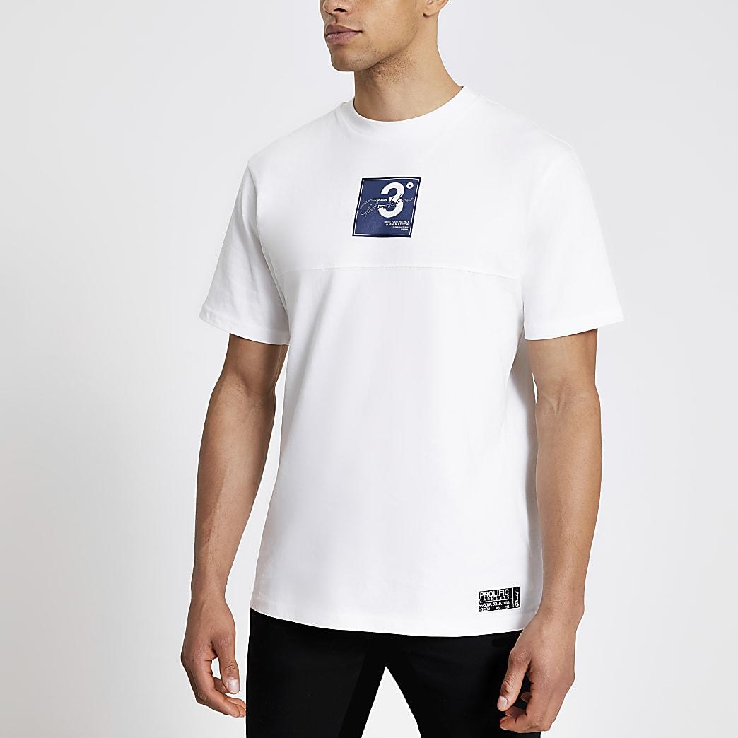 Prolific white logo print regular fit T-shirt