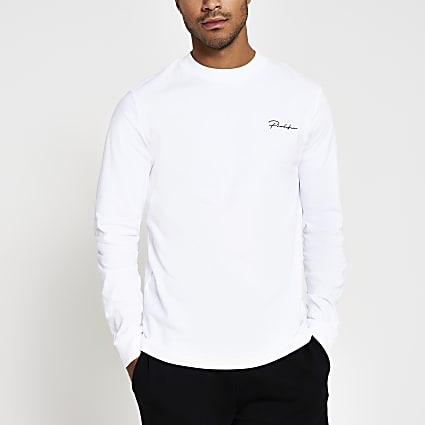 Prolific white long sleeve slim fit t-shirt