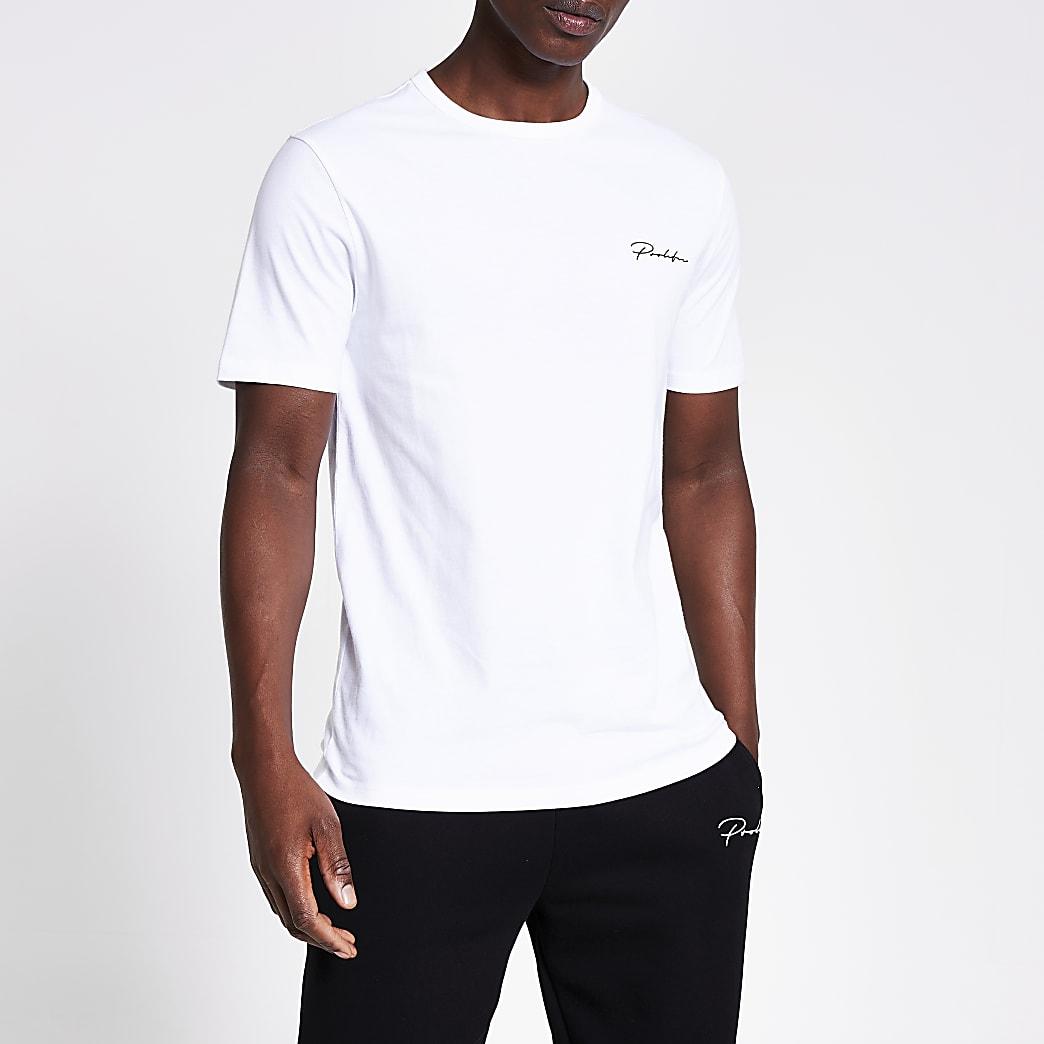Prolific - Wit slim-fit T-shirt met korte mouwen
