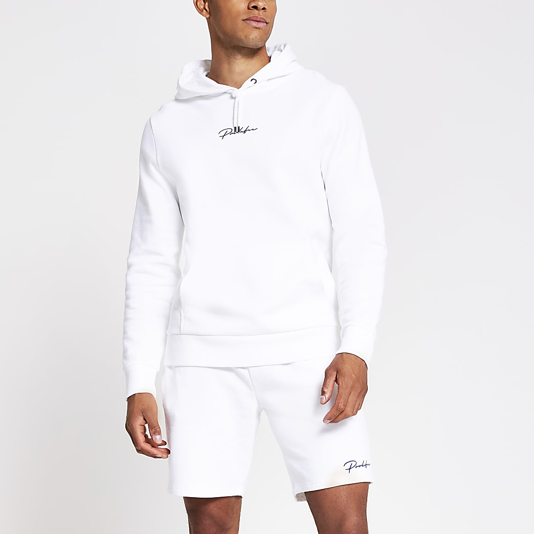 Prolific white slim fit hoodie
