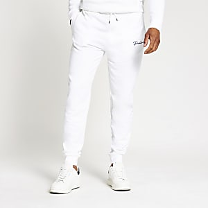 Prolific white slim fit joggers