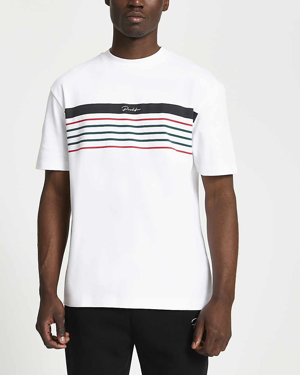 Prolific white stripe block slim fit t-shirt