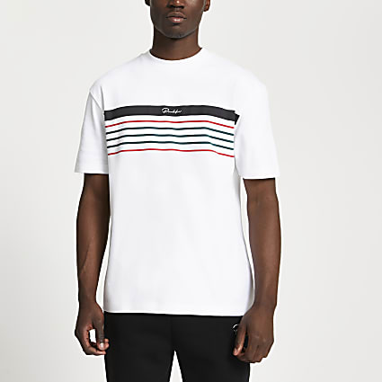 Prolific white stripe block slim fit t-shirt