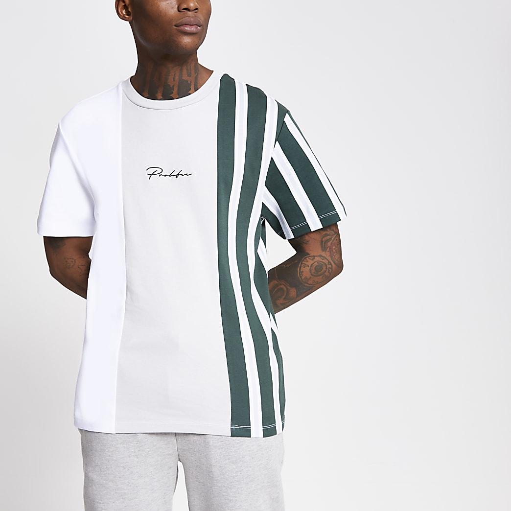 Prolific - Wit gestreept T-shirt met kleurvlakken
