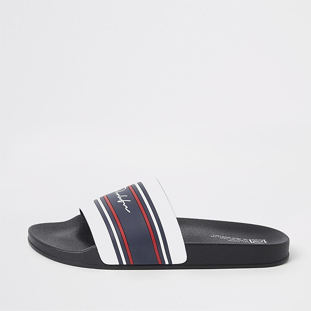 Prolific - Witte gestreepte slippers