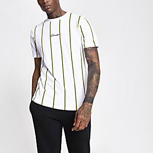 Prolific– T-shirt à rayures blanc