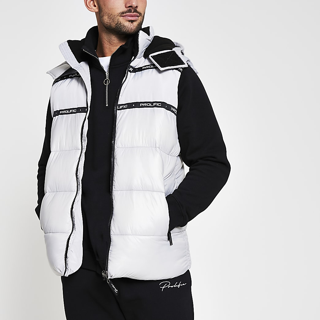 Prolific white wet look hooded gilet