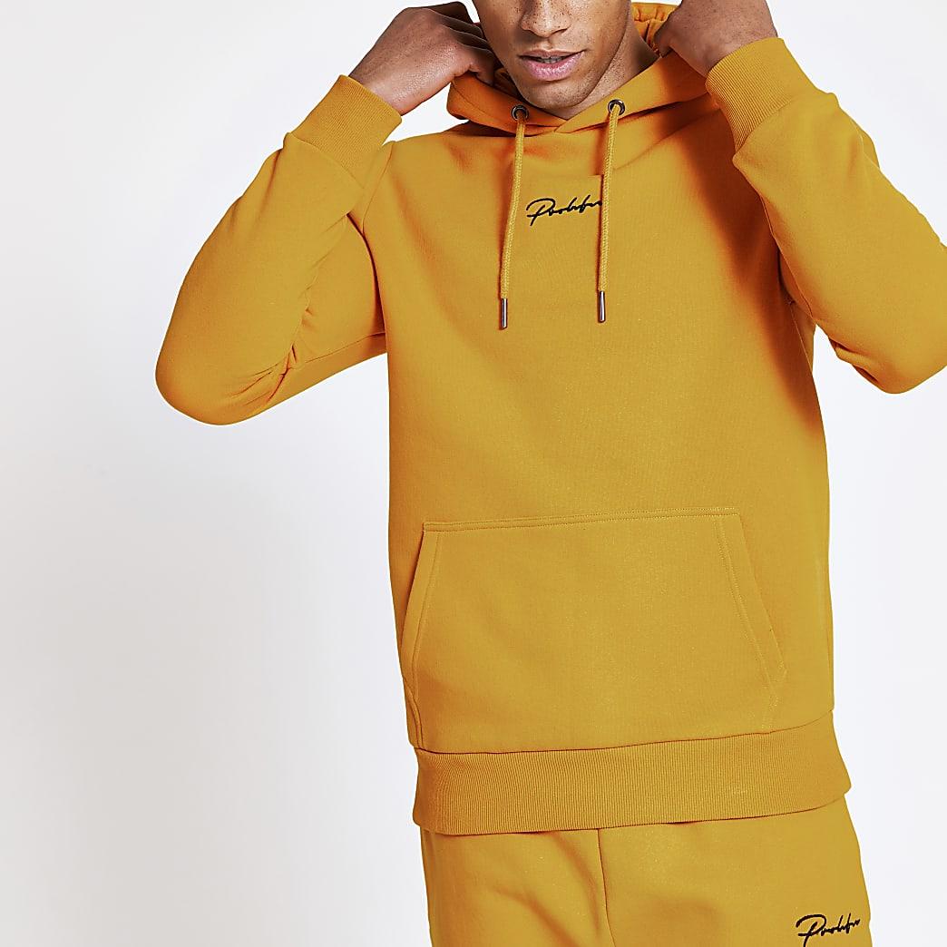 Prolific yellow slim fit hoodie