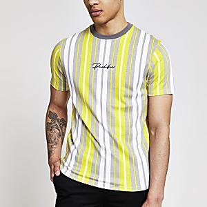 Prolific – Gelbes Slim Fit T-Shirt mit Streifen