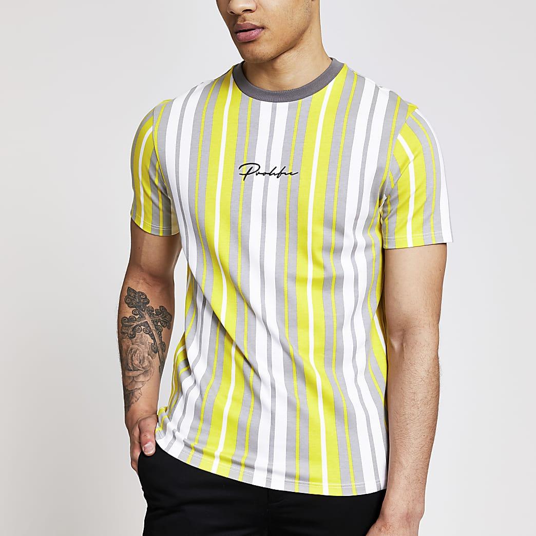 Prolific- Geel gestreept slim-fit T-shirt